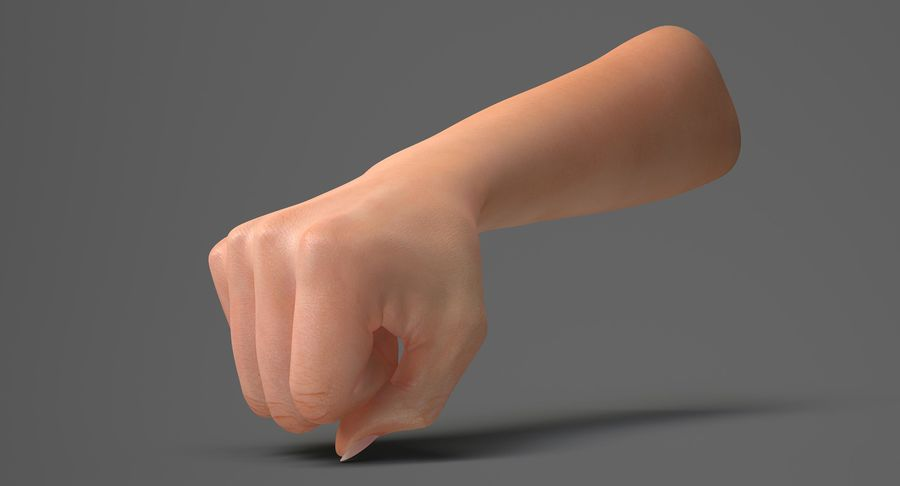 Female Arm A (Pose D Textured) Fist royalty-free 3d model - Preview no. 3