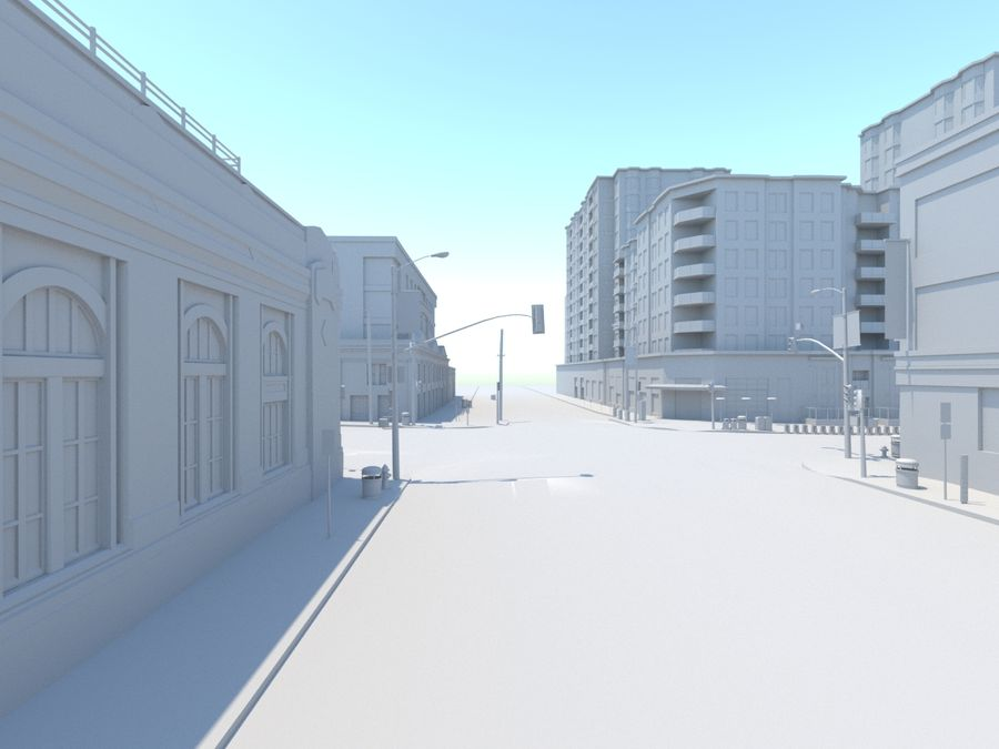 Calle de la ciudad royalty-free modelo 3d - Preview no. 13