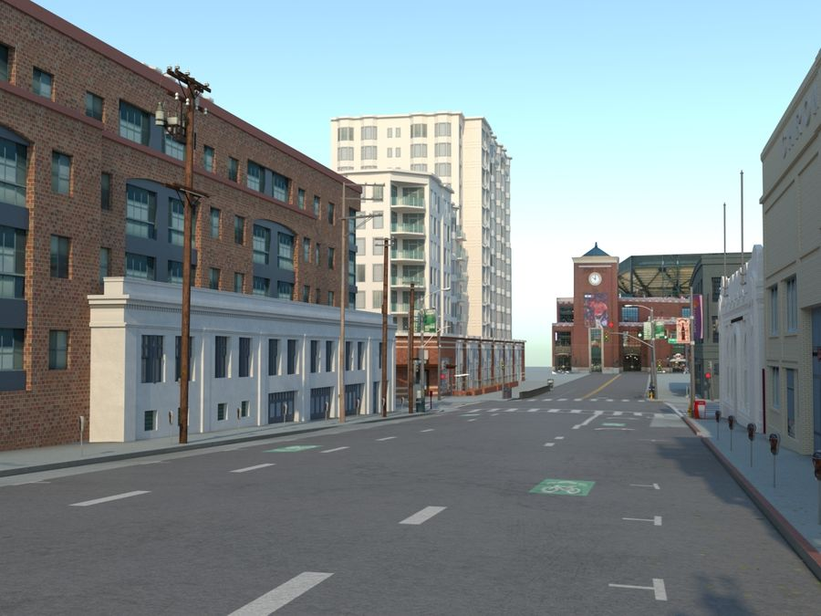 Calle de la ciudad royalty-free modelo 3d - Preview no. 3