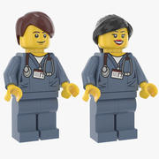 레고 남자와 여자 의사 3d model