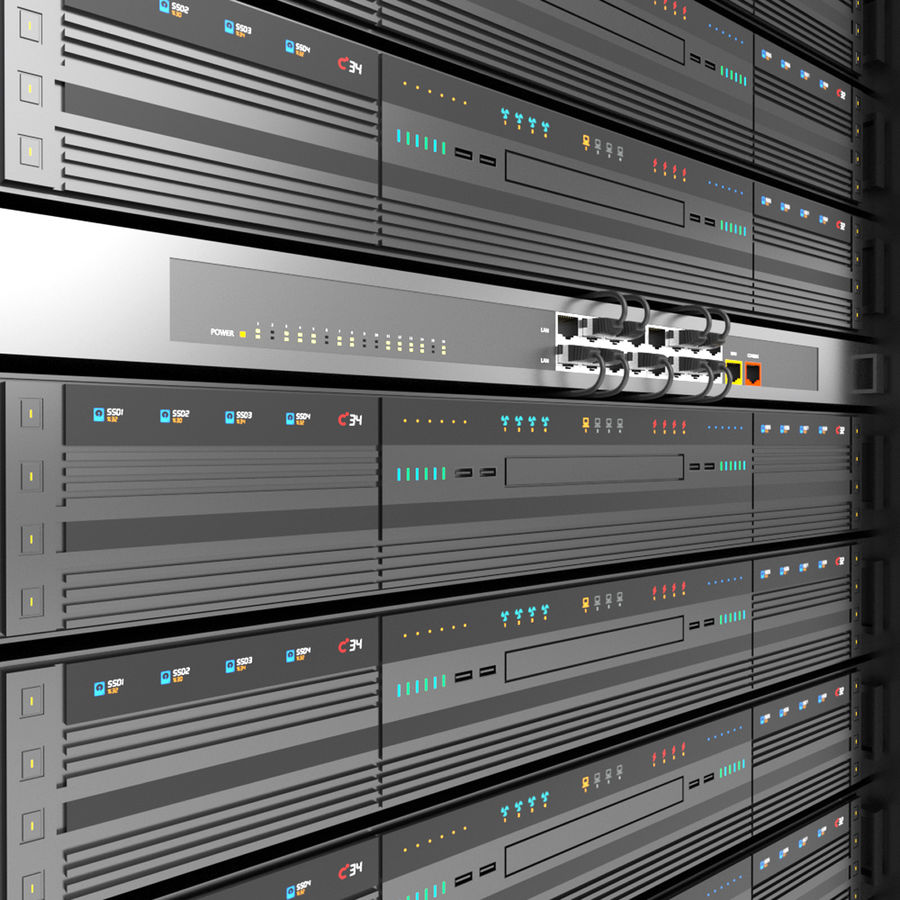 Server Rack Data Center royalty-free 3d model - Preview no. 9