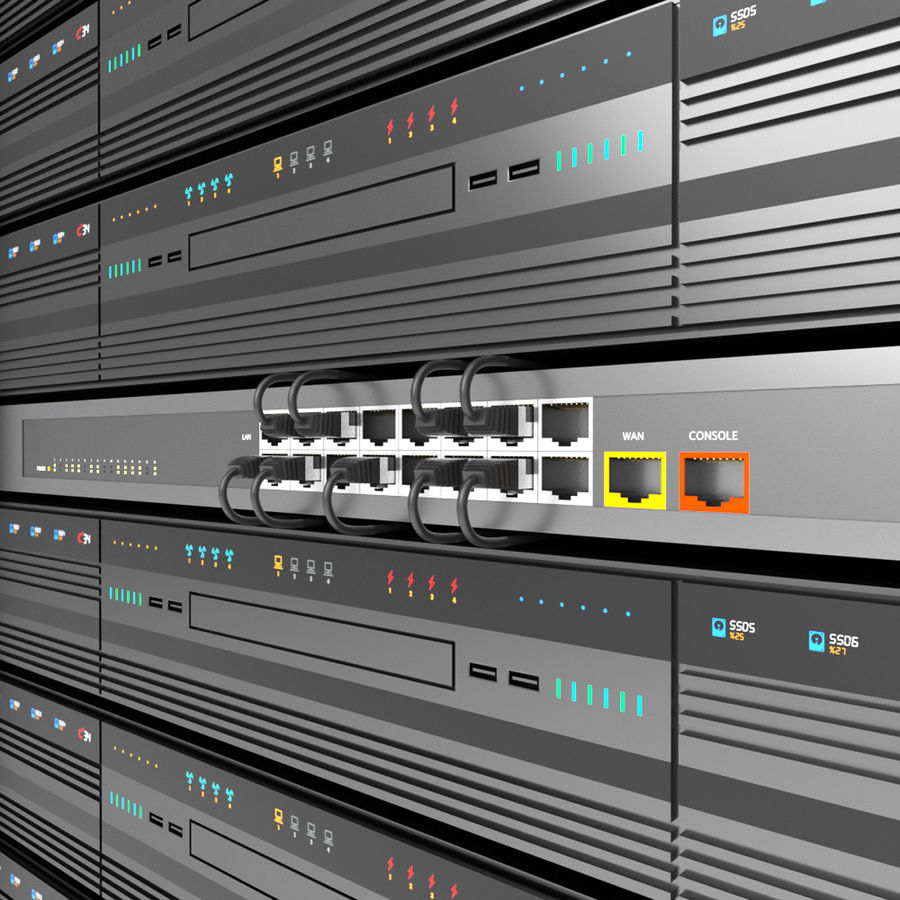 Server Rack Data Center royalty-free 3d model - Preview no. 10