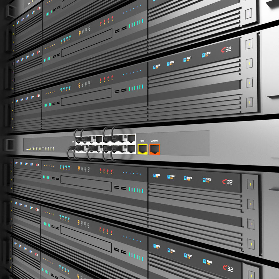 Server Rack Data Center royalty-free 3d model - Preview no. 8