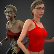 sivil ve zombi hileli kız 3d model
