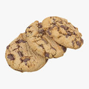 3 Chocolate Chip Cookies 3d model