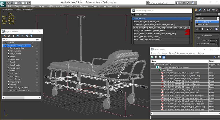 救护车担架车3D模型 royalty-free 3d model - Preview no. 22