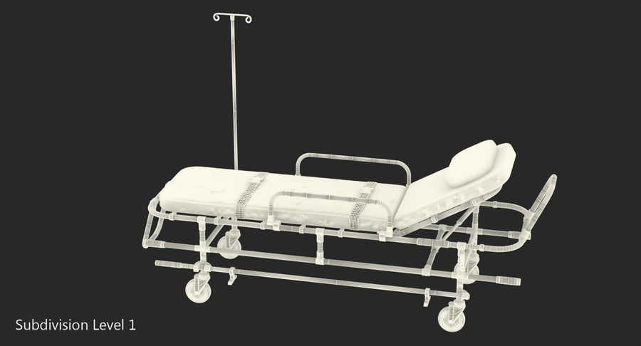 救护车担架车3D模型 royalty-free 3d model - Preview no. 17