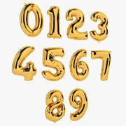 호일 풍선 번호 금 3d model