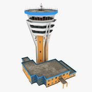 Torre de control de tráfico aéreo modelo 3d