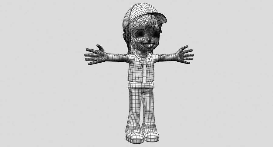 Garçon de dessin animé royalty-free 3d model - Preview no. 16