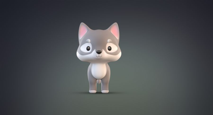 Cartoon Wolf royalty-free 3d model - Preview no. 4