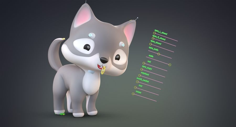Cartoon Wolf royalty-free 3d model - Preview no. 14