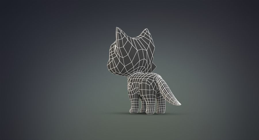 Cartoon Wolf royalty-free 3d model - Preview no. 23