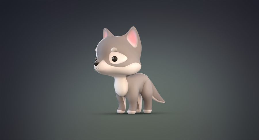 Cartoon Wolf royalty-free 3d model - Preview no. 8