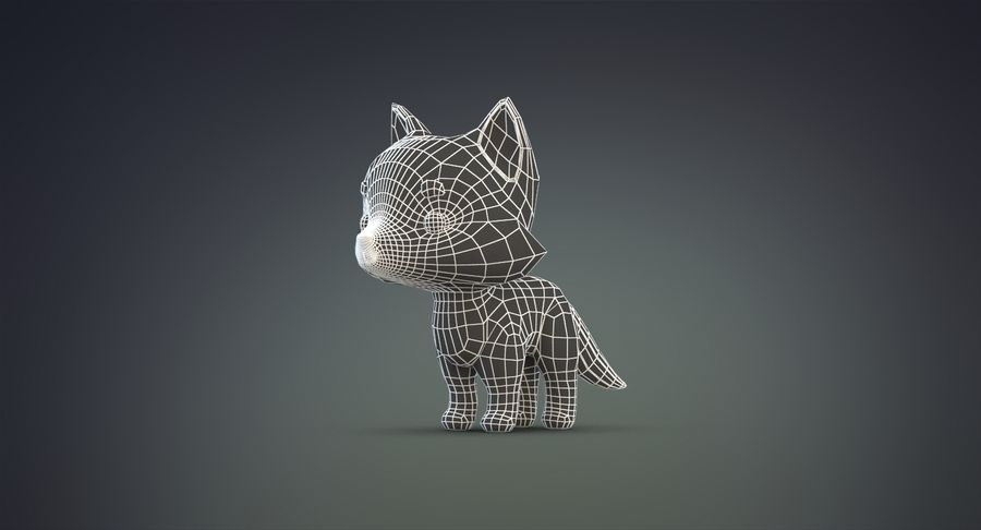 Cartoon Wolf royalty-free 3d model - Preview no. 22
