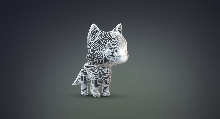 Cartoon Wolf royalty-free 3d model - Preview no. 20