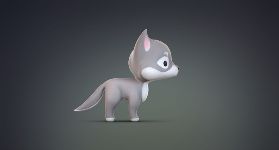 Cartoon Wolf royalty-free 3d model - Preview no. 11