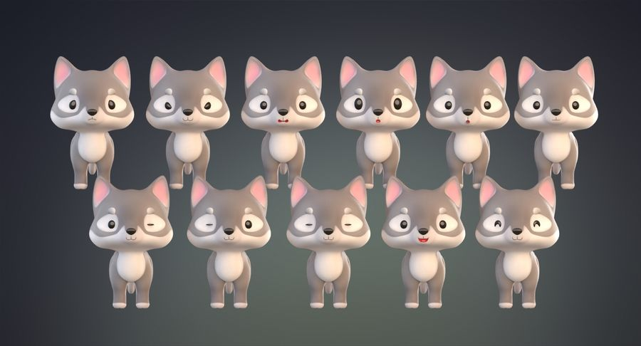 Cartoon Wolf royalty-free 3d model - Preview no. 17