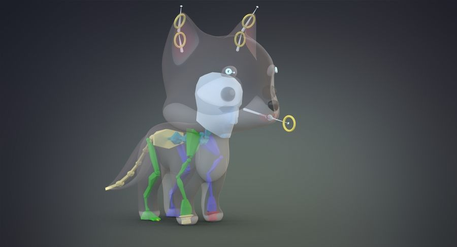 Cartoon Wolf royalty-free 3d model - Preview no. 16