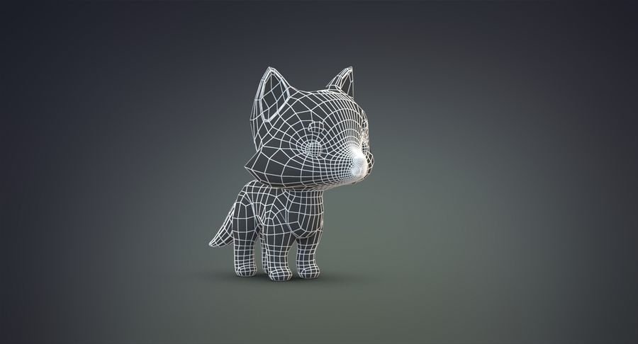 Cartoon Wolf royalty-free 3d model - Preview no. 19