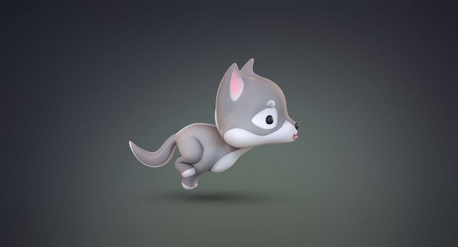 Cartoon Wolf royalty-free 3d model - Preview no. 6