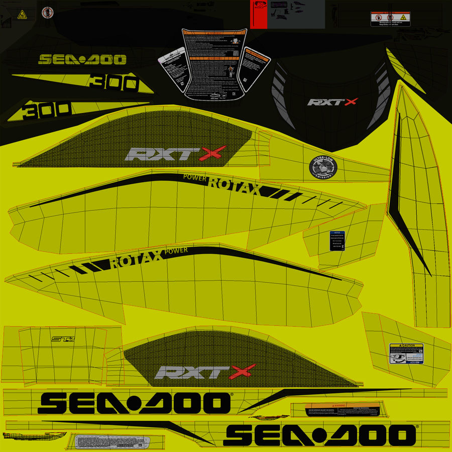 Sea-Doo RXT-X 300 Performance Watercraft 2019 royalty-free 3d model - Preview no. 18