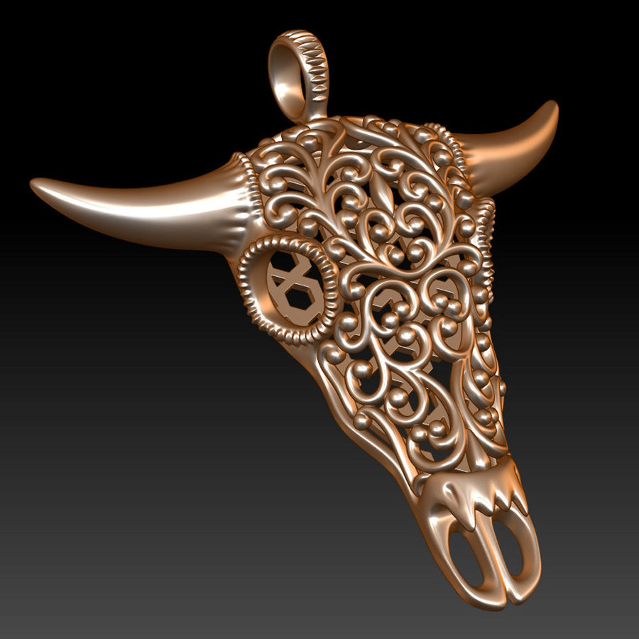 Buffalo Skull Pendant royalty-free 3d model - Preview no. 9