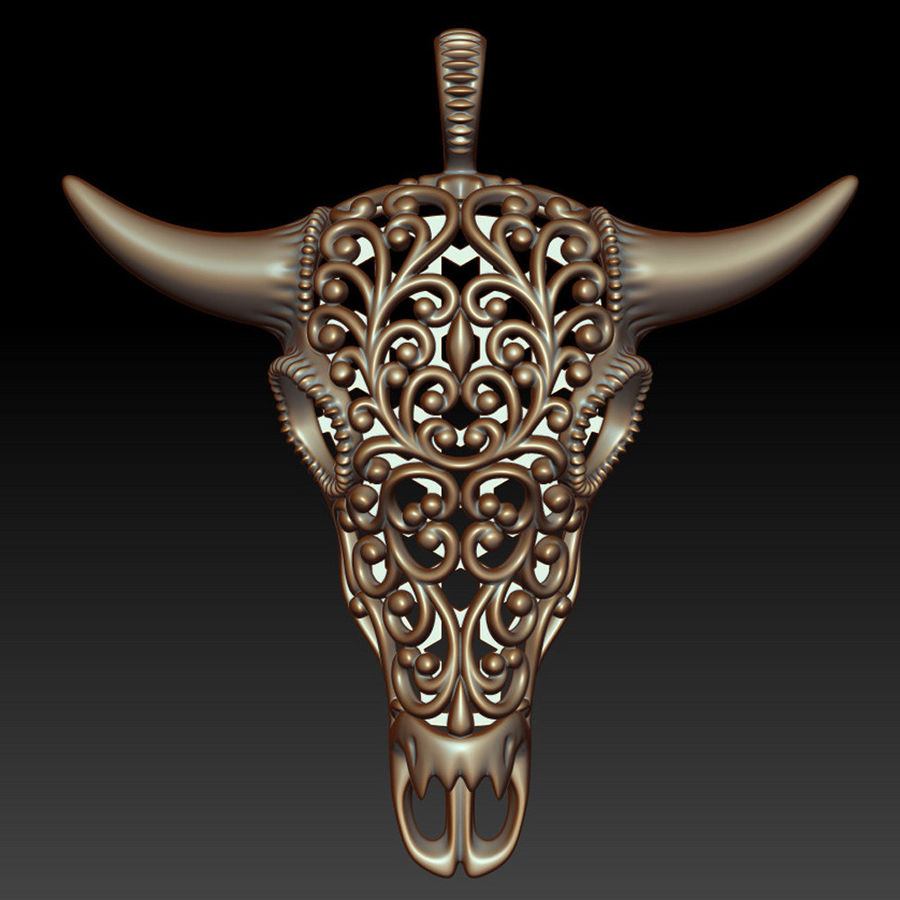 Buffalo Skull Pendant royalty-free 3d model - Preview no. 7