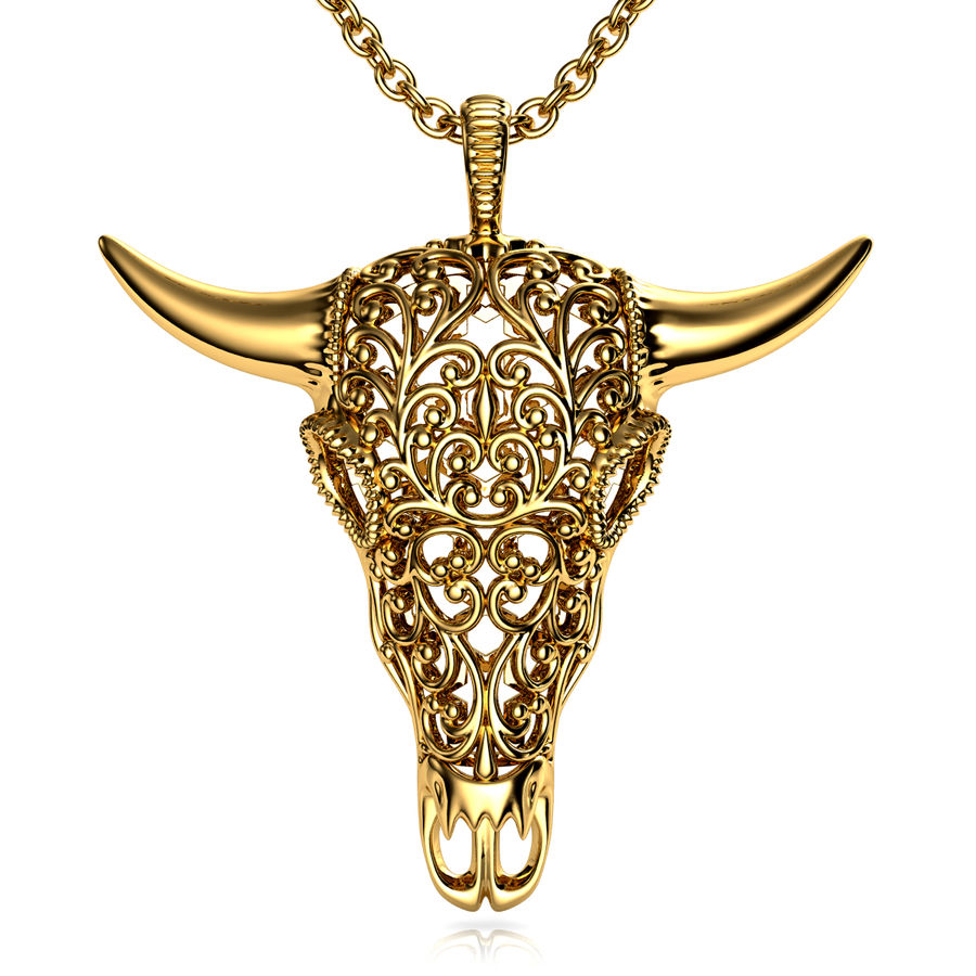 Buffalo Skull Pendant royalty-free 3d model - Preview no. 1