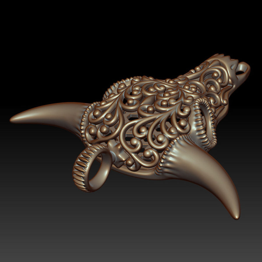Buffalo Skull Pendant royalty-free 3d model - Preview no. 8