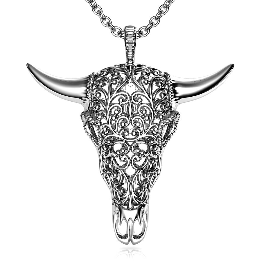 Buffalo Skull Pendant royalty-free 3d model - Preview no. 2