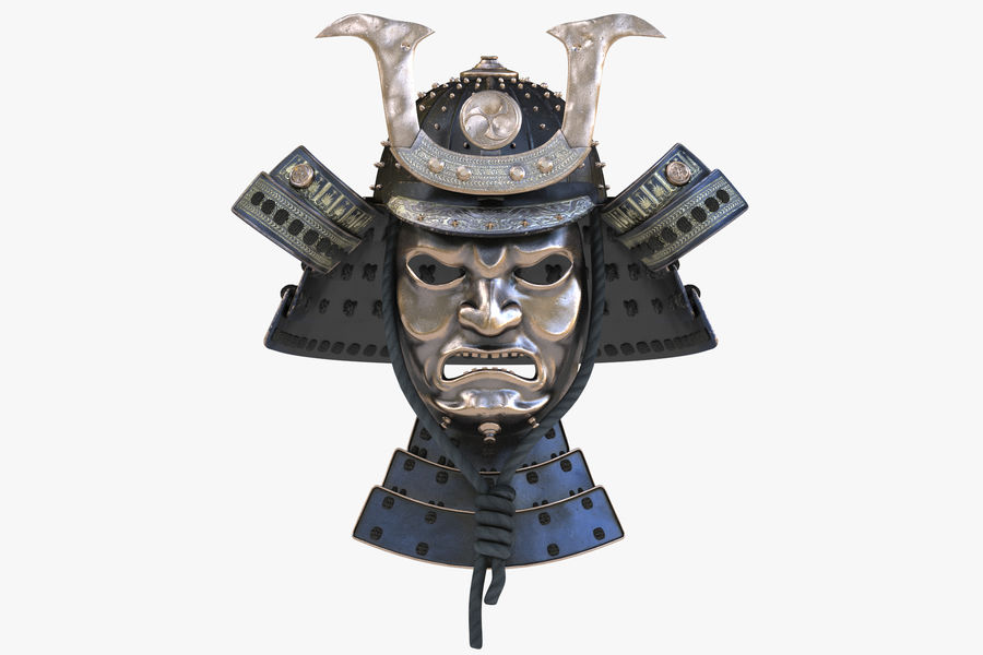 Helm Samurai royalty-free 3d model - Preview no. 3