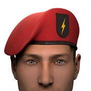 Militär röd basker av arméns specialstyrkor med lappemblem 3d model