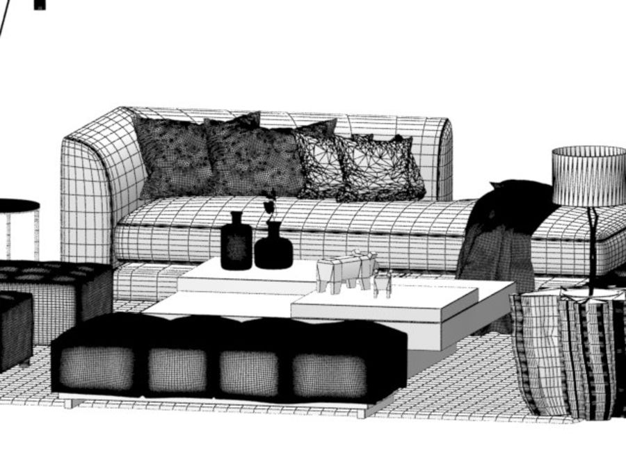 zestaw do salonu royalty-free 3d model - Preview no. 7