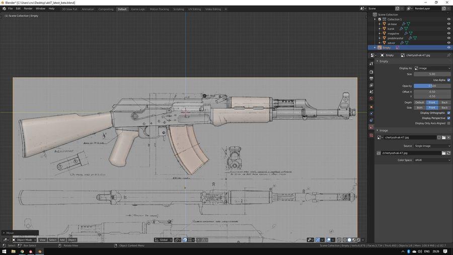 ak-47 low poly royalty-free 3d model - Preview no. 4