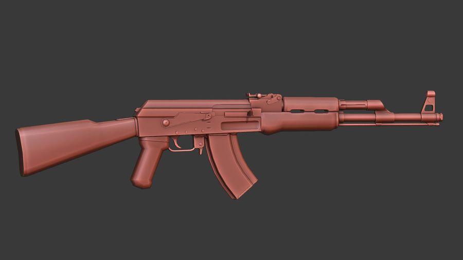 ak-47 low poly royalty-free 3d model - Preview no. 2