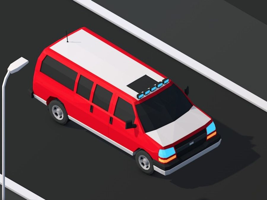 Dessin animé Low Poly Van Vehicle royalty-free 3d model - Preview no. 1