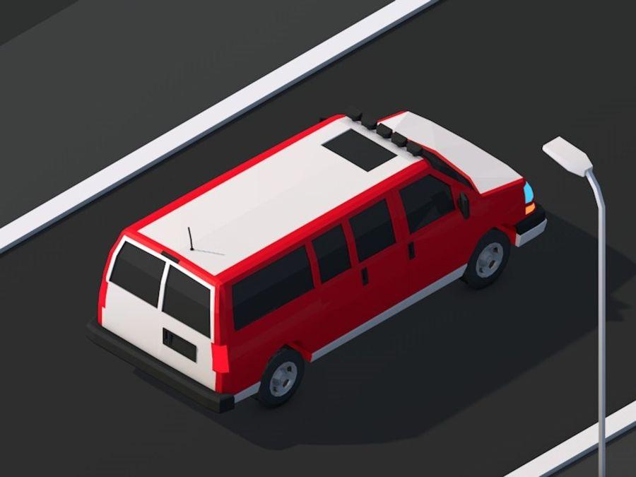 Dessin animé Low Poly Van Vehicle royalty-free 3d model - Preview no. 5
