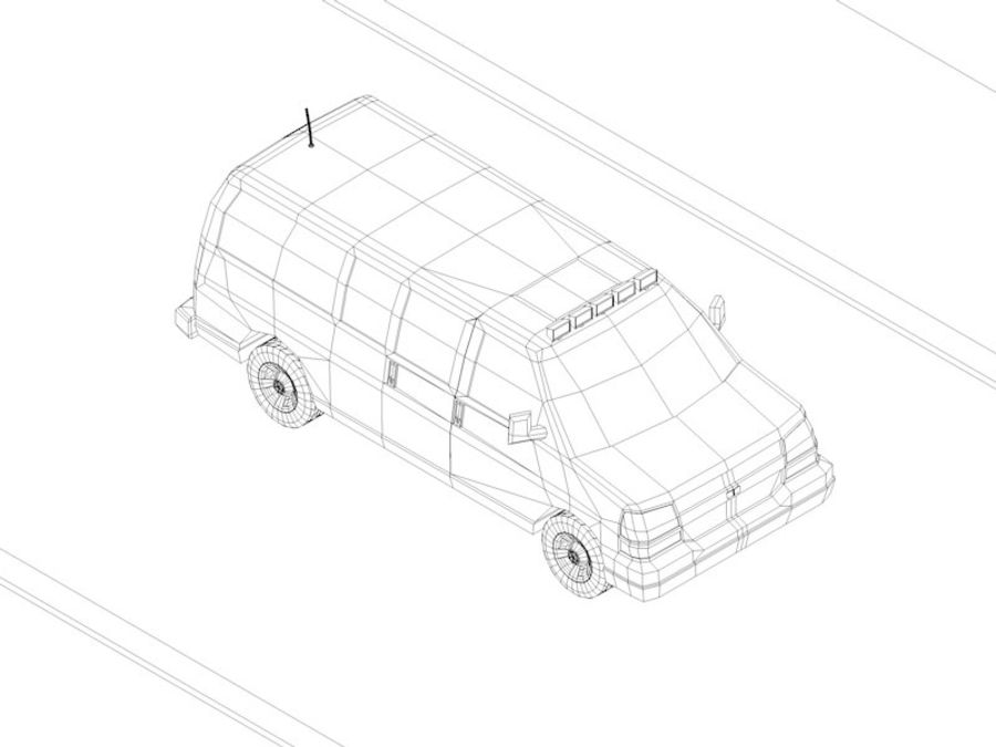 Dessin animé Low Poly Van Vehicle royalty-free 3d model - Preview no. 8