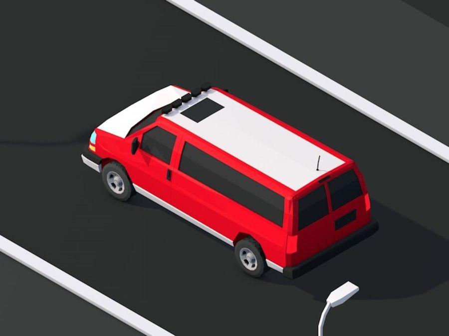 Dessin animé Low Poly Van Vehicle royalty-free 3d model - Preview no. 4