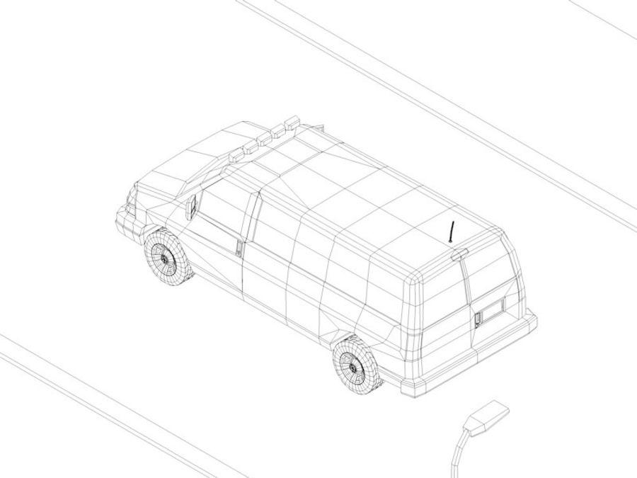Dessin animé Low Poly Van Vehicle royalty-free 3d model - Preview no. 9