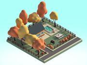 Escena de ilustración 3d de casa de dibujos animados modelo 3d