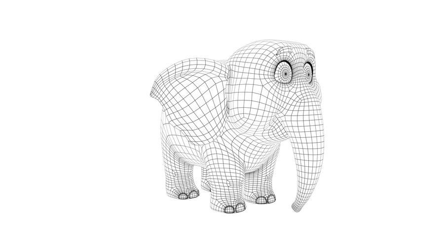 Éléphant de bébé dessin animé royalty-free 3d model - Preview no. 11