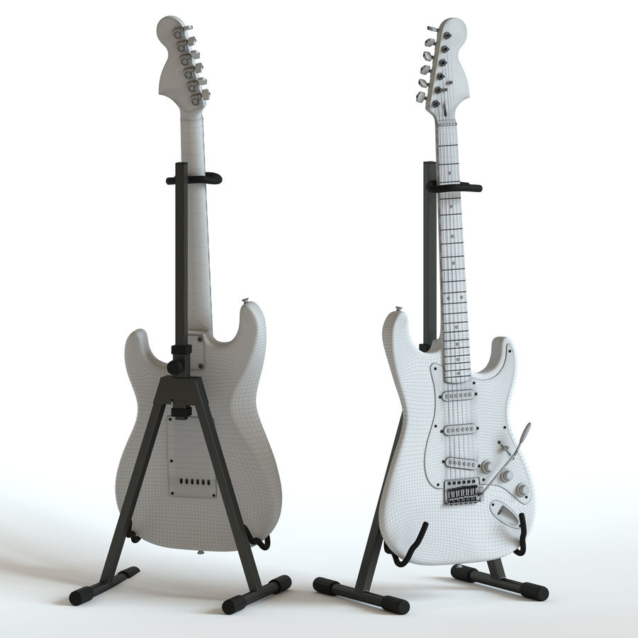 Electric Guitar Squier Fender stratocaster royalty-free 3d model - Preview no. 2