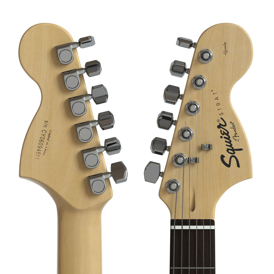 Electric Guitar Squier Fender stratocaster royalty-free 3d model - Preview no. 4