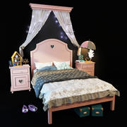 Adelina bed is pink 3d model