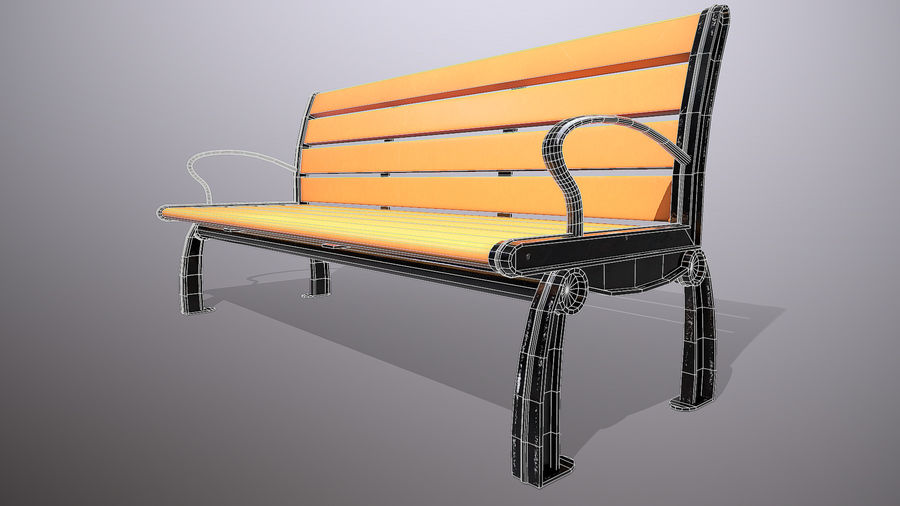 Commercial Mall Bench royalty-free 3d model - Preview no. 4