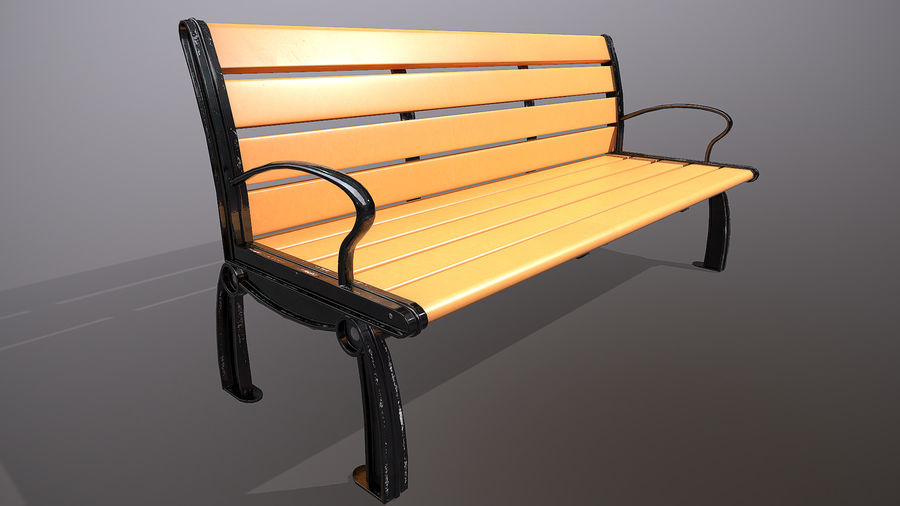 Commercial Mall Bench royalty-free 3d model - Preview no. 2