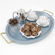 Горячий шоколад на подносе 3d model