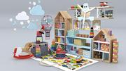 Conjunto de muebles de sala infantil modelo 3D modelo 3d